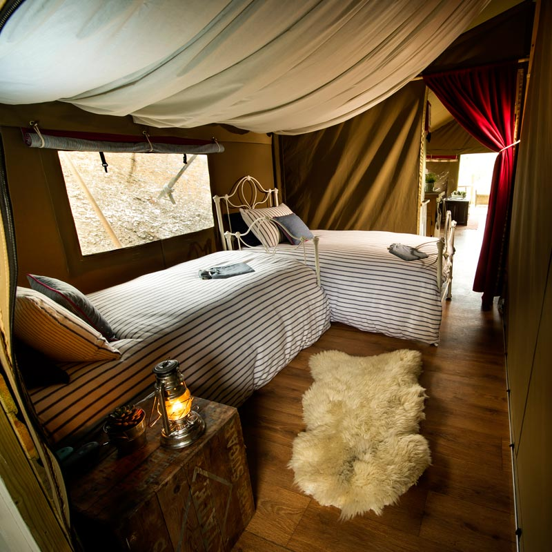 Single Beds at Longlands Glamping