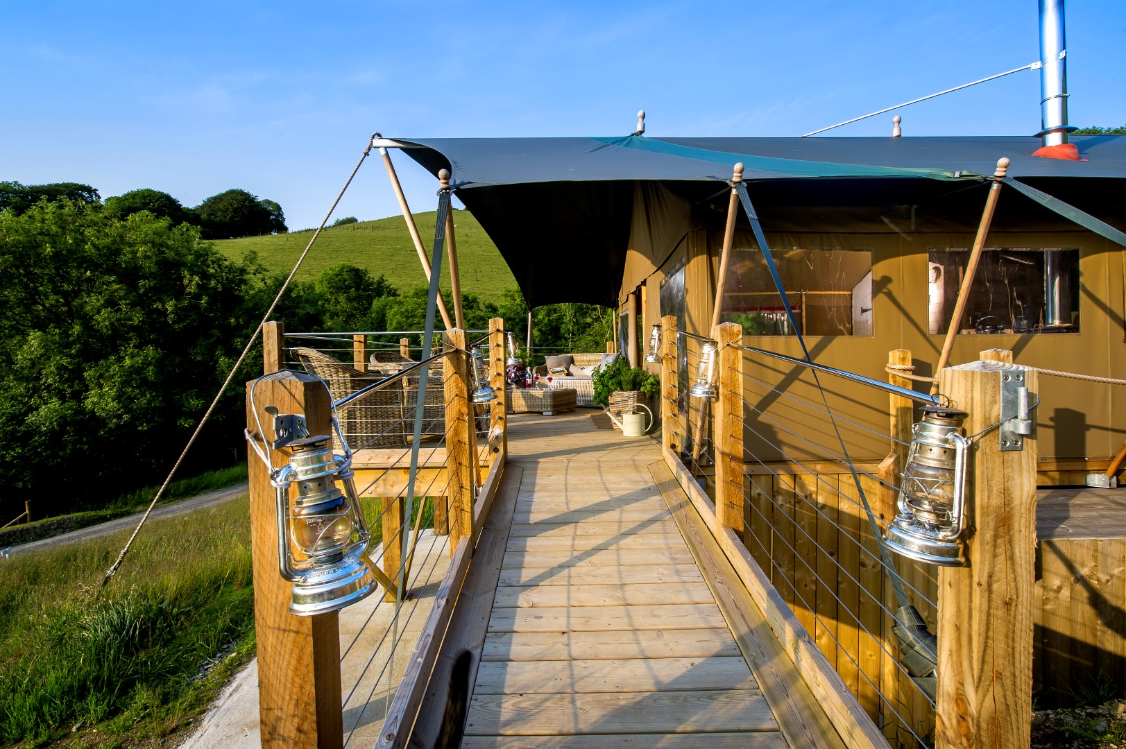 Beautiful Glamping Lodges with decking at Longlands