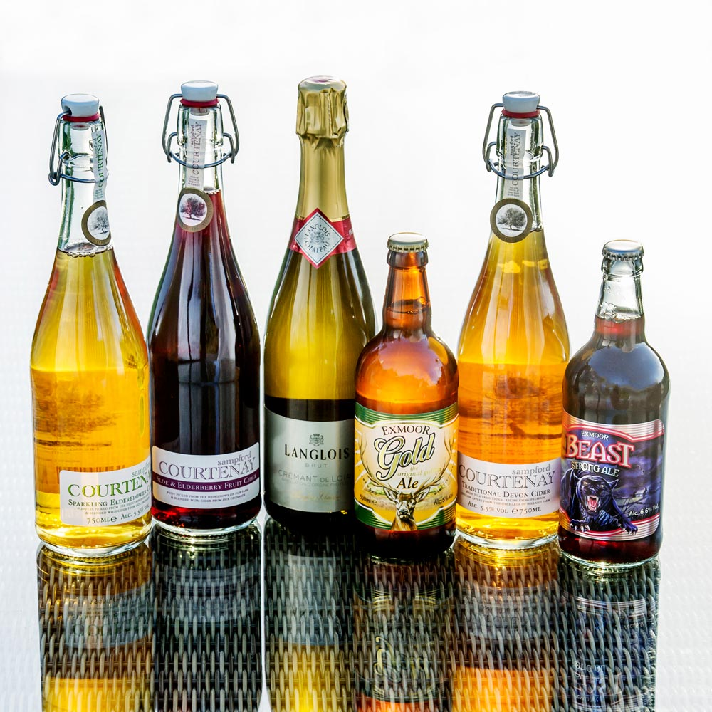 A Selection of Wines, Ciders and Craft Beers at Longlands Glamping