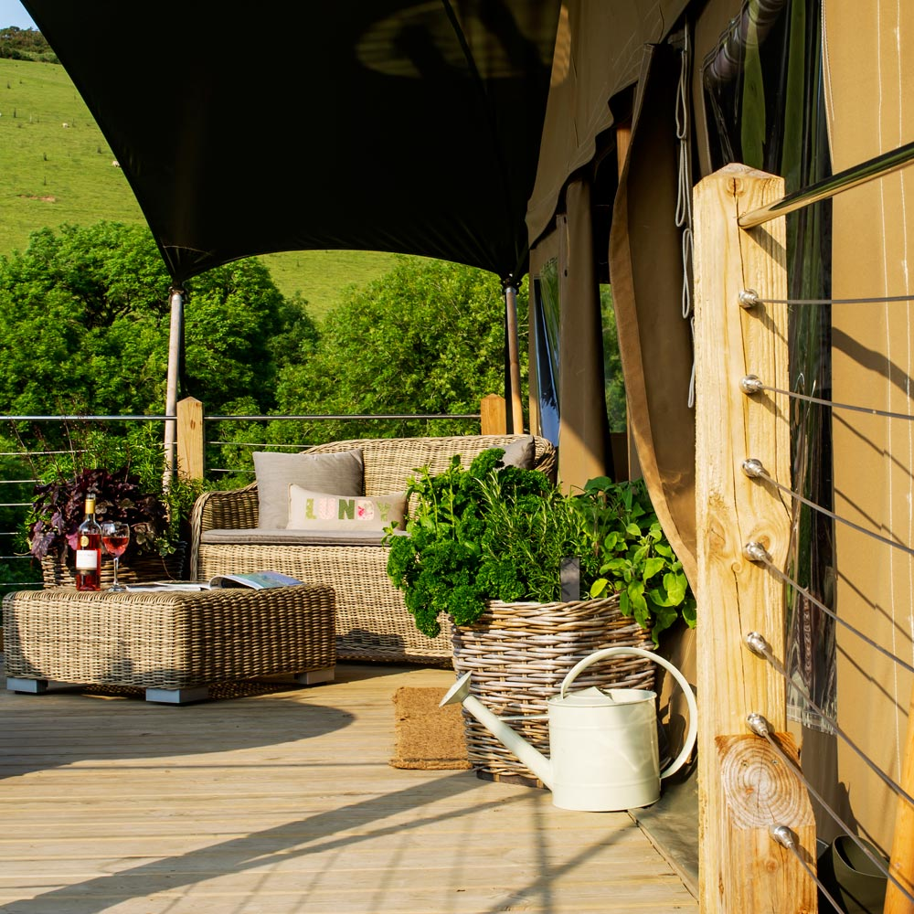 Relax on the Decking in Luxurious Style at Longlands Glamping