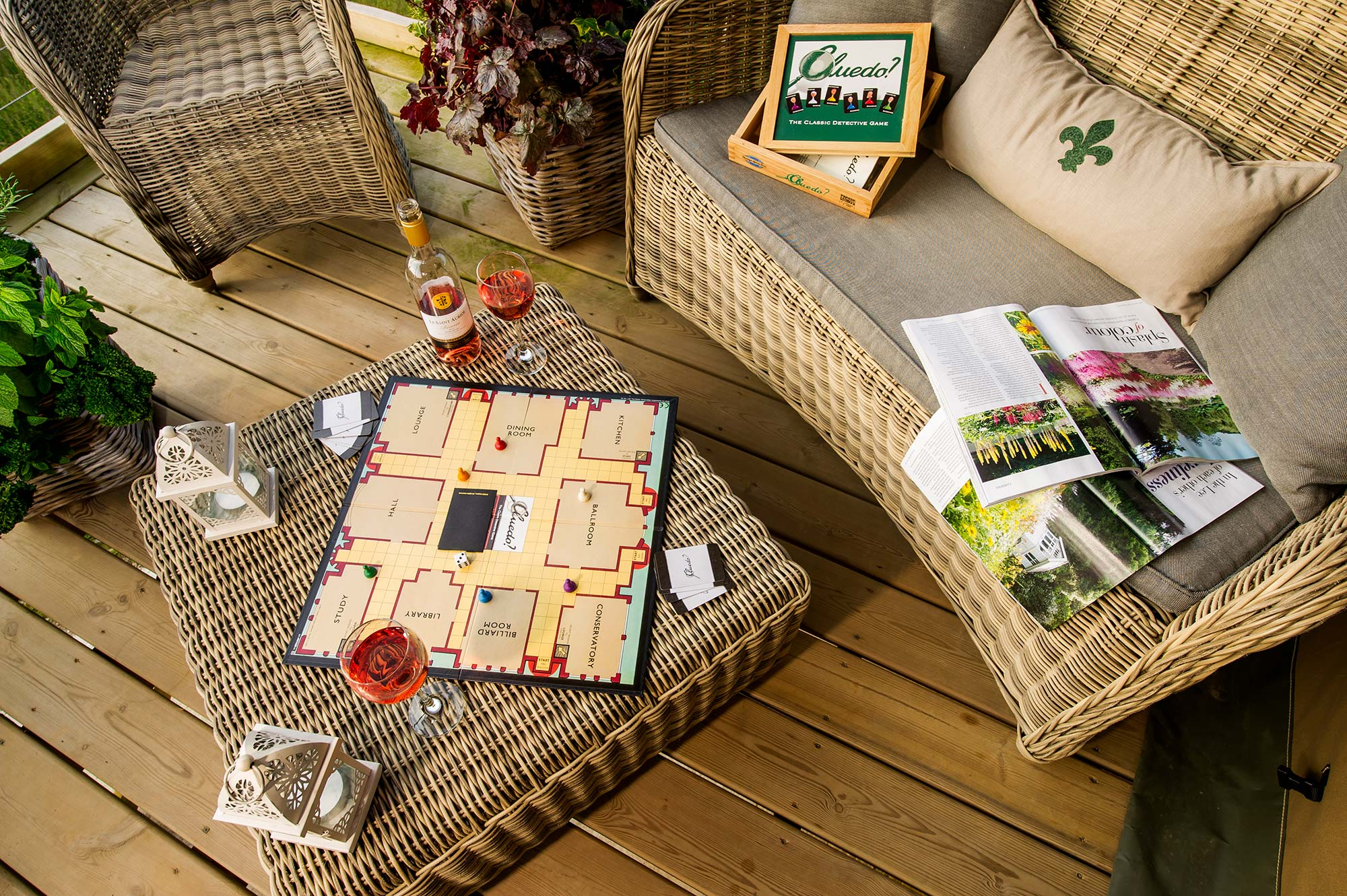 Board Games on the decking when glamping with family & friends at Longlands