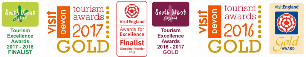 Longland's Award from 2016 to 2018 - Luxury Glamping in Devon.
