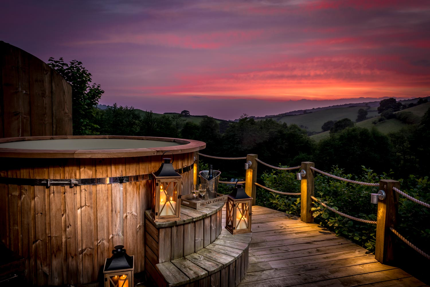 Views from the hot tub at Longlands luxury glamping lodges in the South West, Devon.