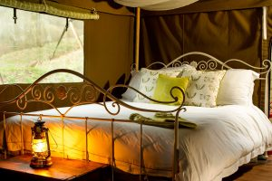Luxury Bed at Longlands Glamping Devon